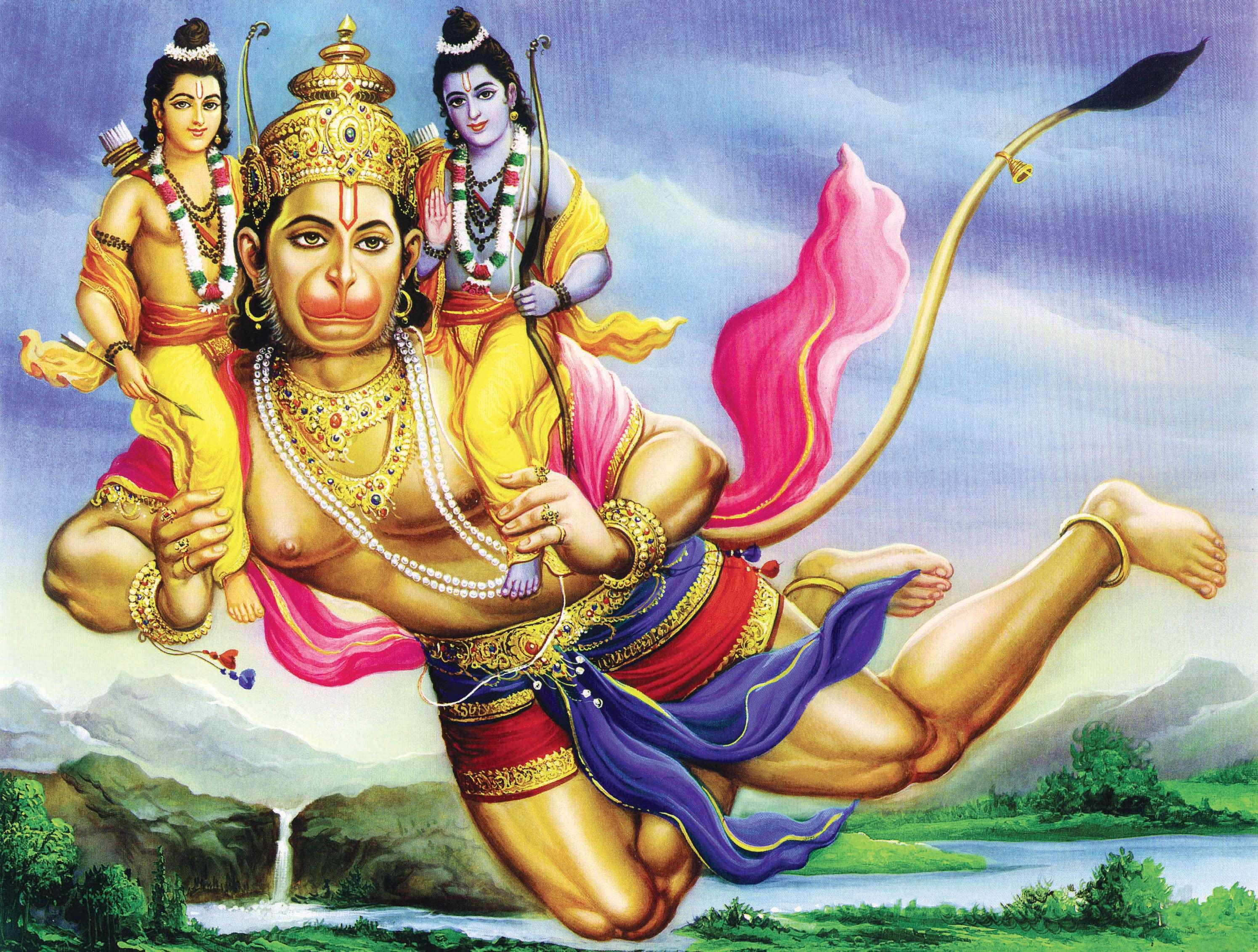 Beauttiful Hanuman Image with Ran and Laxman!