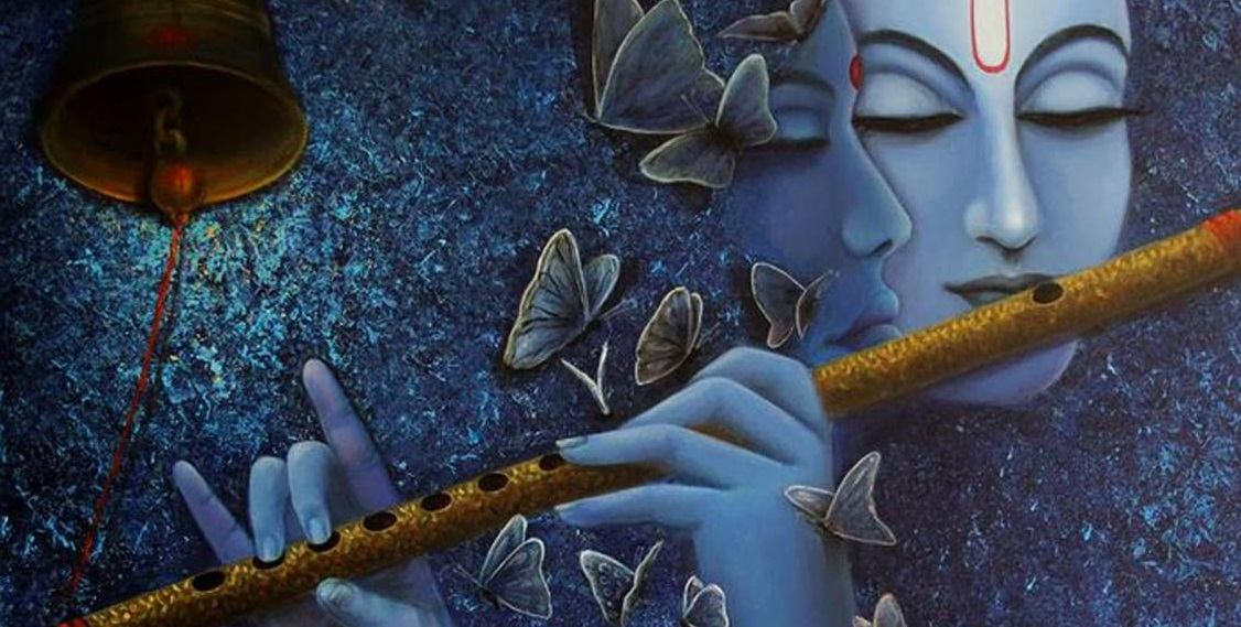 lord radhe krishna playing flute blue painting wallpaper