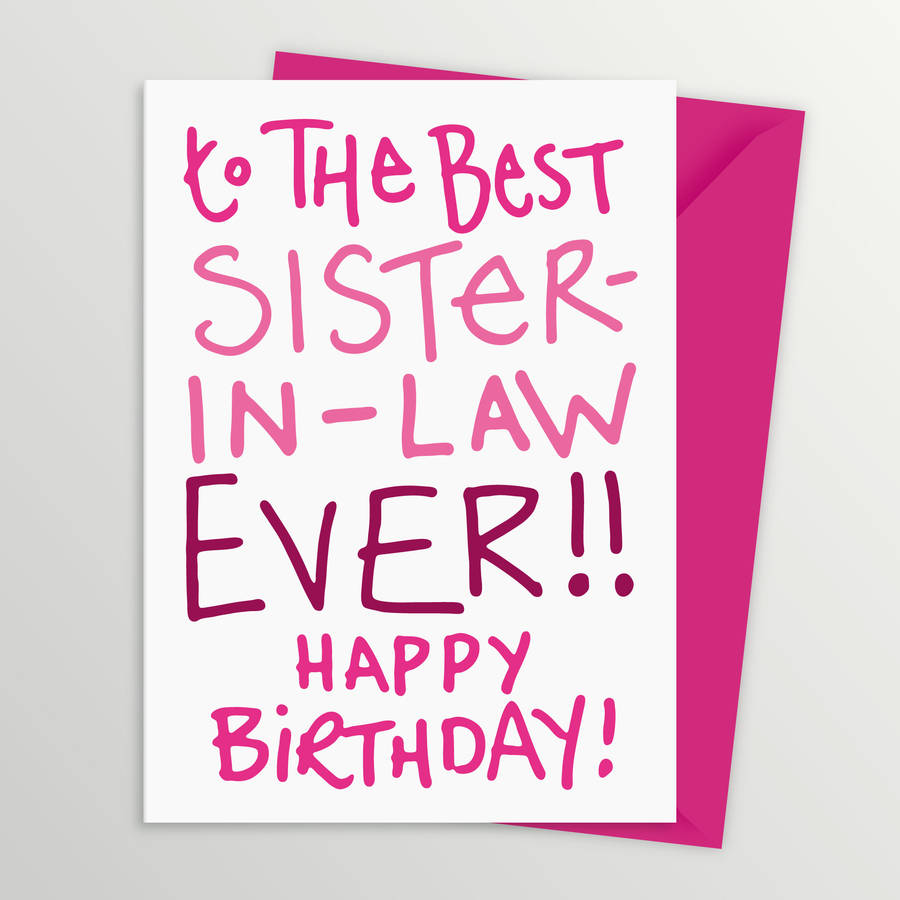Best Sister In Law Birthday Card