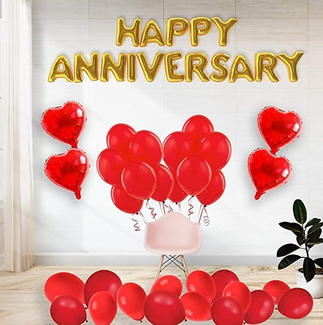 Happy anniversary image with red flowers