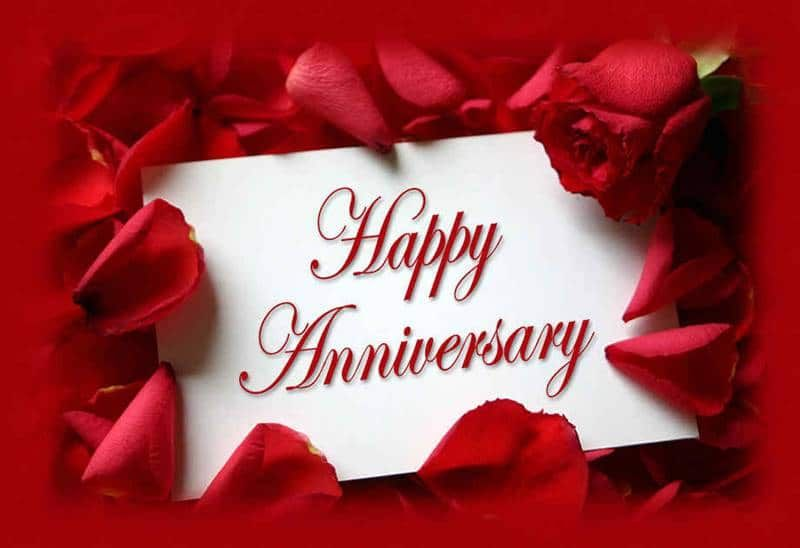 Happy anniversary with red roses