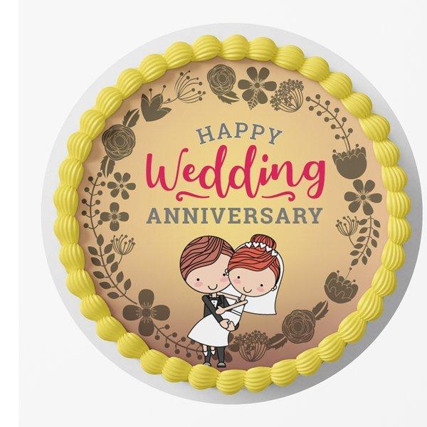 Happy anniversary with unique wedding cake image